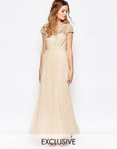 Image 1 ofVila Lace Top Button Back Maxi Dress