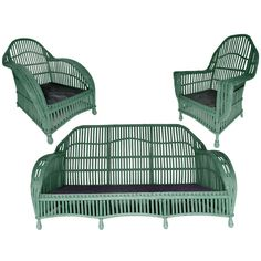 Curvy Three-Piece Stick Wicker Set, early 20th C| From a unique collection of antique and modern garden furniture at http://www.1stdibs.com/furniture/building-garden/garden-furniture/