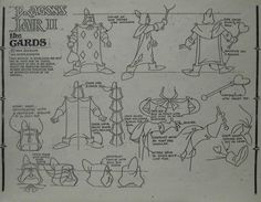 Don Bluth Dragons Lair II of The Cards Animation Model Sheet Drawing Cel | eBay