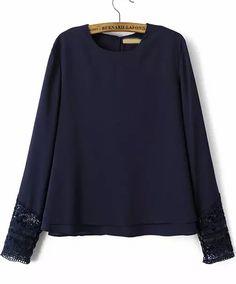 Blue Long Sleeve Lace Loose Chiffon Blouse - Sheinside.com