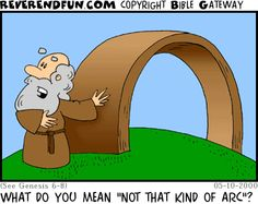 "DESCRIPTION: Noah standing by arc CAPTION: WHAT DO YOU MEAN ""NOT THAT KIND OF ARC""?"