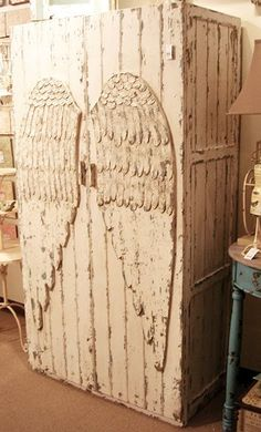 "Most people see a Beautiful Rustic angel wing armoire......My mind says ""DON'T OPEN IT!!!!  IT'S A WEEPING ANGLE COFFEN!!!!"