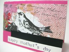 Mother's Day Card  Pink and Black by SpareChangeCO on Etsy, $4.00