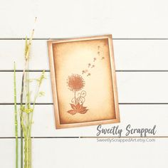 Dandelion Wish Greeting Card. Blank Card, Blank Greeting Card, Floral Card, Birthday Card, Wedding, All Occasion, Blank, Aged, Flower Decorated Envelopes, Dandelion Wish, Blank Cards, Journal Cards, Hand Stamped, Cardmaking, Vintage Inspired, Card Stock, Birthday Cards