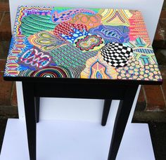 Hand Painted Table Funky & Colorfully Painted table One of a | Etsy Whimsical Painted Furniture, Hand Painted Furniture, Funky Furniture, Recycled Furniture, Furniture Makeover, Painting Furniture, Painted Table Tops, Alcohol Ink Painting, Artist Painting