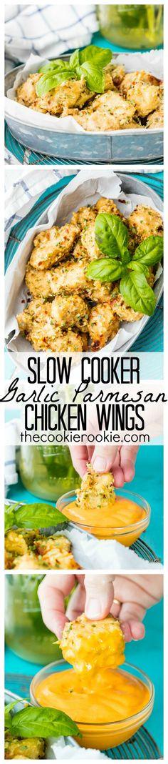 Slow Cooker Garlic Parmesan Wings. Copycat Buffalo Wild Wings sauce recipe. #slowcooker #crockpot
