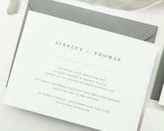 Ainsley Simple Rustic Wedding Invitation by August and White