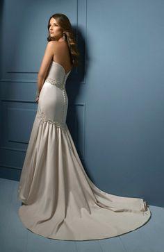 Plain Satin Buttons Chapel Train Beaded Column Bridal Gown -US$190.49 - ninedresses.com