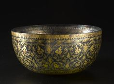 Khan or washing bowl of silver, parcel-gilt and niello-inlaid, with band of floriated ornament and dragon in medallion: Thailand or Laos, Siamese, 18th or early 19th century © National Museums Scotland