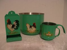 hen and rooster paintings on vintage kitchen ware.