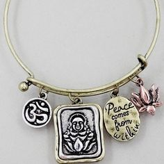 Buddha peace charm bracelet New! Use the add to bundle feature and save 15%. No trades. Burnished Gold tone charm hook bracelet 2.5 inch diameter. Price firm if not bundled Jewelry Bracelets