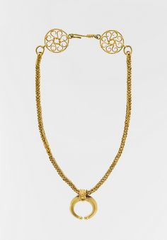 Gold necklace with crescent-shaped pendant.  Period:     Imperial Date:     1st–3rd century A.D. Culture:     Roman.
