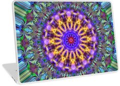 Inner Radiance Laptop & MacBook Skins by Terrella. A colourful fractal mandala backed by lines of blue, green, brown & black. The mandala features glowing lines, flourishes & swirls. • Also buy this artwork on phone cases, apparel, home decor, and more.