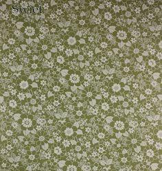 Groen wit bloemenbehang | Swiet