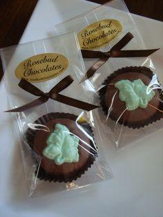Chocolate Pale Green Leaf Cookie Favor... www.rosebudchocolates.com