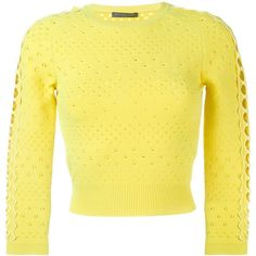 Alexander McQueen perforated jumper ($665) ❤ liked on Polyvore featuring tops, sweaters, three quarter sleeve crop top, yellow jumper, three quarter sleeve tops, jumper top and cropped jumper