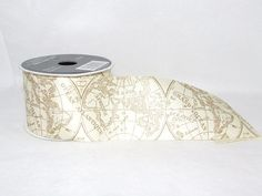 World Map Ribbon  3 yards by CraftSupplyAndFinds on Etsy, $6.50