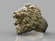 Angry Lion Ring 3d printed. More products: http://voronart.com/for-sale/