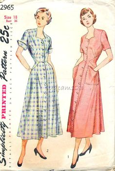 1949 Simplicity 2965 Vintage 1940s Robe or Housedress Pattern Button Front by sydcam123