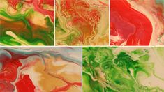 Christmas Colours - Five Mini Abstract Paintings