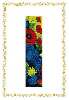 "Beading pattern Bracelet ""Poppies and Cornflowers"". Loom. Seed bead pattern. Beaded pattern. Cuff. Instant Download. Pattern PDF. Tutorial."