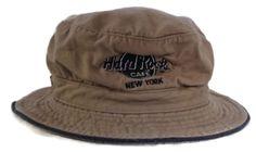 Hard-Rock-Cafe-New-York-100-Cotton-Tan-Khaki-Bucket-Hat-Beach-Hat-Sz-S-M-EUC