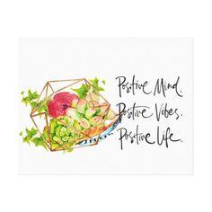 Positivity & Succulents Canvas Print