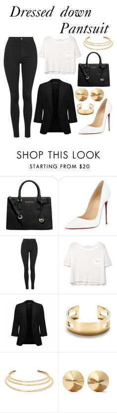 """Untitled #57"" by unknownandloveit on Polyvore featuring Michael Kors, Christian Louboutin, Topshop, MANGO, Forever New, Tiffany & Co., Kenneth Jay Lane, Eddie Borgo and thepantsuit"
