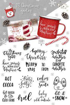 Christmas clipart / Christmas quotes / Christmas clip art / Christmas overlays / winter / hand drawn