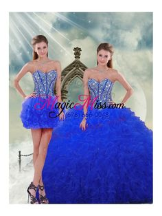 wholesale detachable and most popular royal blue quinceanera dresses with beading and ruffles for 2015 spring