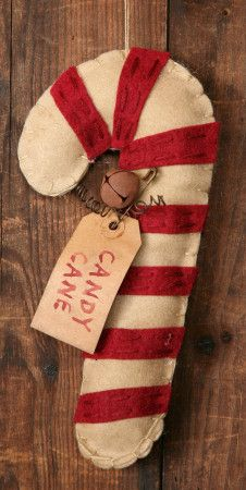 ☆ Primitive Candy Cane Ornament Rusty Wire Bell bowl fillers using candy striped fabric or felt which has been grunged ☆ Felt Christmas Ornaments, Prim Christmas, Christmas Items, Christmas Candy, Christmas Projects, Christmas Holidays, Candy Cane Crafts, Candy Cane Ornament, Felt Crafts
