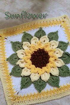 This amazing afghan block uses surface crochet and a chain-loop version of the popular Crocodile Stitch to produce a glorious floral motif. Whether you work it up in a single color, go with the sunflower colors in the above picture, or choose your own fav Point Granny Au Crochet, Crochet Flower Squares, Crochet Sunflower, Crochet Motifs, Crochet Blocks, Granny Square Crochet Pattern, Crochet Flower Patterns, Afghan Crochet Patterns, Crochet Flowers
