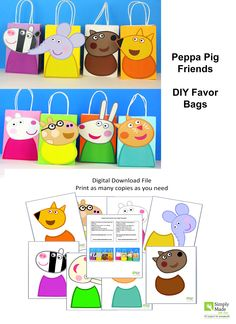 Decorate your Peppa Pig Party with these Peppa's adorable friends on your Favor Bags. You may print as many as you need and use them to create your own favor bags or centerpieces. Invitacion Peppa Pig, Cumple Peppa Pig, Pig Birthday Cakes, 3rd Birthday Parties, 2nd Birthday, Tortas Peppa Pig, George Pig Party, Rebecca Rabbit, Aniversario Peppa Pig