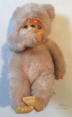"Vintage Russ Berrie Tubby Thumb Sucking Tan Monkey 8"" Bean Plush #Russ"