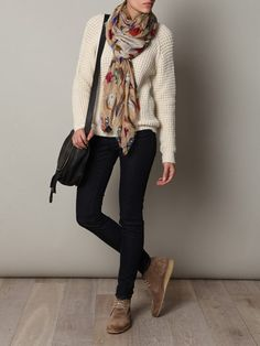 Perfect example of how a girl can wear desert boots. Skinny black jeans. Wear your loose knit beige sweater. Thick scarf in winter. Or thin cotton colored scarf in spring.