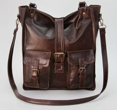 Brown Leather Purse Leather Satchel by WyntopiaLeather on Etsy, $185.00