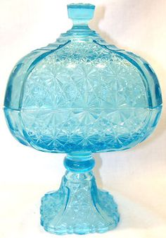 EAPG Antique Adams & Co.1880s, Ice Blue Compote