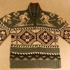 Excited to share this item from my shop: Ralph Lauren Ski Sweater Vintage Men's Ski Sweater, Sweater Cardigan, Vintage Men, Vintage Fashion, Collar Tips, Tommy Hilfiger Vintage, Vintage Sweaters, Knitting Designs, Hand Knitting