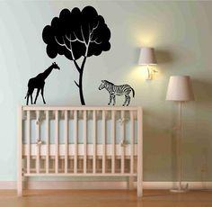 Nursery Decor Zebra and Giraffe under Tree Wall Decals by Popitay, $35.00