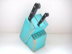 Knife Block Shabby Chic Turquoise Kitchen by GreenFoxStudio, $25.00