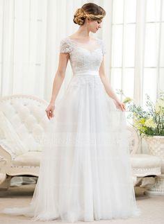 Forme Princesse Col rond alayage/Pinceau train Tulle Charmeuse Dentelle Robe de mariée avec Emperler Sequins (002052783)