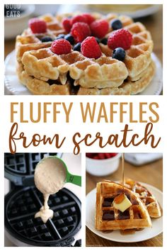 Use this Fluffy Waffle Recipe to make thick, fluffy homemade waffles without the hassle of beating egg whites! Waffle Recipe With Egg Whites, Waffle Recipe For 2, Waffle Recipe Without Eggs, Waffle Batter Recipe, Waffle Recipes, Snack Recipes, Brunch Recipes, Snacks, Belgium Waffles