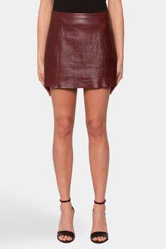 Leather A Line Mini Skirt | T BY ALEXANDER WANG | Merlot