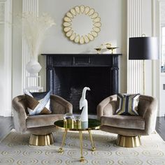 A pair of swiveling, comfy club chairs can really make a living room sing! These side by side Jonathan Adler Bacharach Swivel Chairs are hitting a high note!