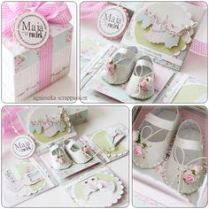 scrappassion: Gift for first birthday Box Cards Tutorial, Cricut Explore Projects, Exploding Box Card, Karten Diy, Baby Shower Niño, Pop Up Box Cards, Baby Girl Cards, Scrapbooking, Baby Sewing Projects
