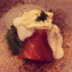 Fresh Yuba appetizer with grated yam maguro shiso. Kaiseki dinner at Ume No Hana Minami Aoyama. #japanesecuisine #vsco #vscocam  #vscofood #foodporn #foodstagram #instafood #tokyo #Japan #tofu #kaiseki #foodshutterbug #minamiaoyama #umenohana #maguro #yuba #aoyama by foodshutterbug
