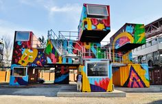 Reason Nightlife Travel to Lisbon, Portugal – Think to Do Container Buildings, Container Architecture, Interior Architecture, Container Shop, Container House Design, Shipping Container Design, Shipping Container Office, Shipping Containers, Graffiti