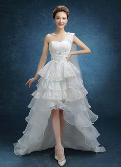 ivory high low bridal gown with one shoulder