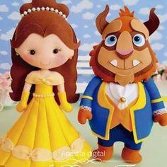 A Bela e a Fera com moldes - Für pin Felt Banner, Beauty And The Beast Party, Felt Patterns, Finger Puppets, Disney Crafts, Felt Toys, Felt Ornaments, Felt Art, Diy Doll