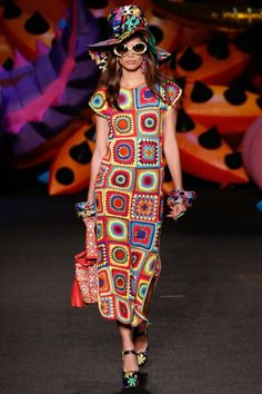 #Crochet Granny Square Dress - Moschino Spring 2017 #Fashion